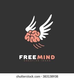 Free mind logo template design. Vector illustration.