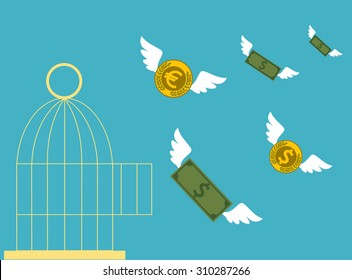 Free money. Open cage with flying money. Business concept.