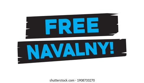 Free Navalny style text on brush strokes isolated
