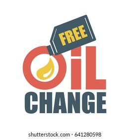 Free oil change. Vector illustration.