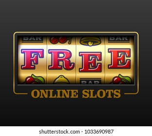 Free Online Slots, slot machine games banner, gambling casino games, slot machine illustration with text Free Online Slots, vector illustration