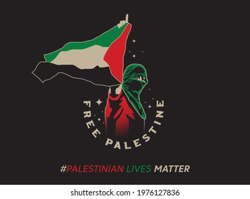 Free Palestine,  Palestinian Lives Matter hashtag with Palestine Arabic calligraphy with Palestinian flag