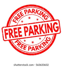Free parking grunge rubber stamp on white background, vector illustration