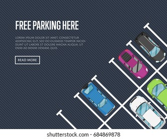 Free parking here poster in flat style. Urban traffic concept, top view parked cars in parking zone, outdoor auto park, public parking lot, city transport services vector illustration.