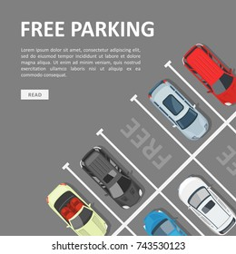 Free parking template. Place for a vehicle, parking space with empty car location. Vector flat style cartoon illustration isolated on white background