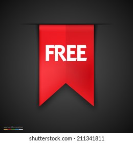 Free Product Red Label Icon Vector Design. Dark background