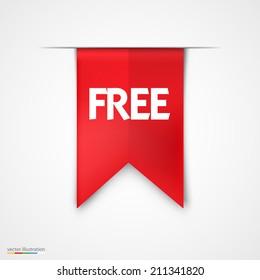 Free Product Red Label Icon Vector Design. Bright  background