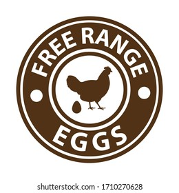 free range eggs, brown rubber stamp, vector illustraion