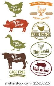 Free Range Meat Stamp, vector