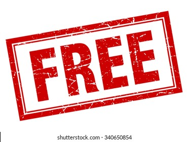 free red square grunge stamp on white. free stamp. free. free sign.