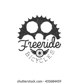 Free ride Vintage Label With Gear Silhouette. Black And White Freeride Club Hand Drawn Emblem. Monochrome Retro Vector Designed Stamp.
