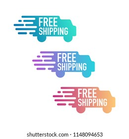 Free shipping. Badge with truck icon. Vector stock illustration.