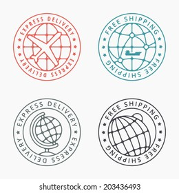 Free shipping badges and stamps. Detailed vector graphics set.