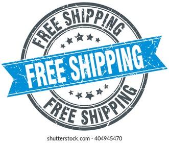 free shipping blue round grunge vintage ribbon stamp. free shipping stamp. free shipping. free shipping sign