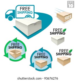 Free shipping boxes, truck delivery with package, eco friendly box