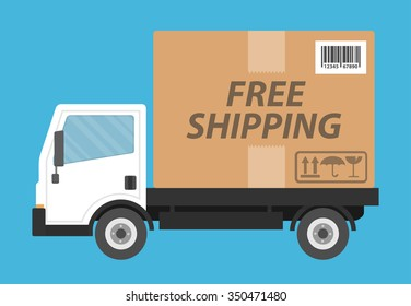 Free shipping concept. Delivery truck transporting a cardboard package with free shipping text on it. Flat style