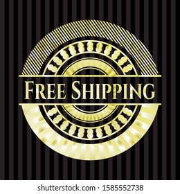 Free Shipping gold badge. Vector Illustration. Detailed.