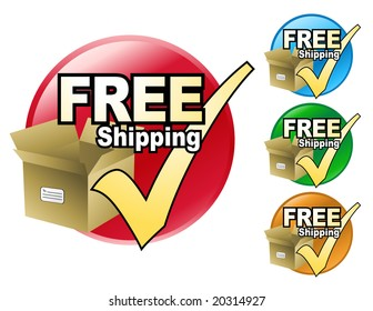 A free shipping icon in four different colors to choose from. The icon has a cardboard box with a check mark by it.