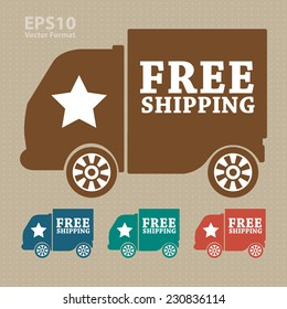 Free shipping icon, tag, label, badge, sign, sticker : vector format