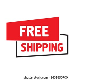 Free Shipping Label vector on white background