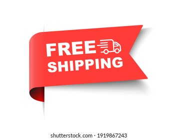 Free Shipping Red Label. Free Shipping Banner Template Vector Design
