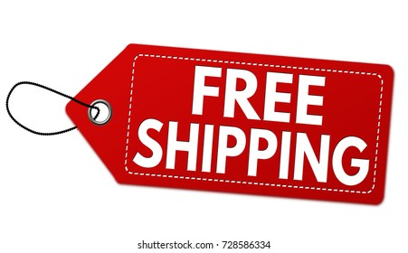 Free shipping red label or price tag on white background, vector illustration