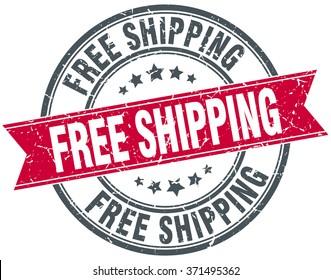 free shipping red round grunge vintage ribbon stamp. free shipping stamp. free shipping. free shipping sign