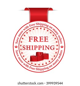 Free shipping red sticker / label with ribbon, vector illustration for print. Contains gift / present bags. Print colors used.