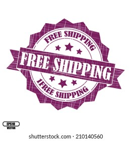 Free shipping rubber stamp, stickers, tag, icon, sign, symbol, badge and label present by violet color for business - Vector.