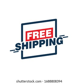 Free shipping sticker isolated on white background. Vector illustration