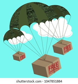 Free shipping text written on three 3D boxes  attached to parachutes in military camouflage style. Vector illustration with clouds in the background.