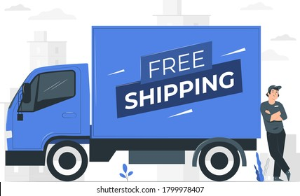 Free Shipping Van with employer modern illustration