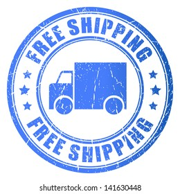 Free shipping, vector stamp illustration