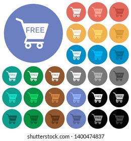 Free shopping cart multi colored flat icons on round backgrounds. Included white, light and dark icon variations for hover and active status effects, and bonus shades.