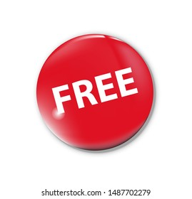 Free sign button on white background. Red button symbol. Vector illustration.