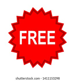 free sign sticker isolated on white background. vector illustration