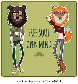 Free soul - Open Mind - Fashionable hipster bear and fox
