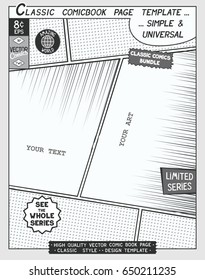 free space comic book page templateのベクター画像素材 503674165