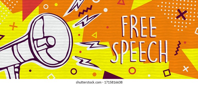 Free speech illustration banner, communication freedom concept in trendy colorful style for social media or expression movement with megaphone symbol cartoon.