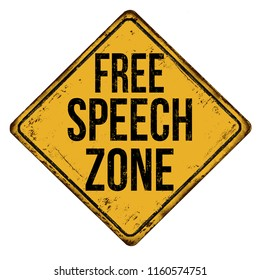 Free speech zone vintage rusty metal sign on a white background, vector illustration