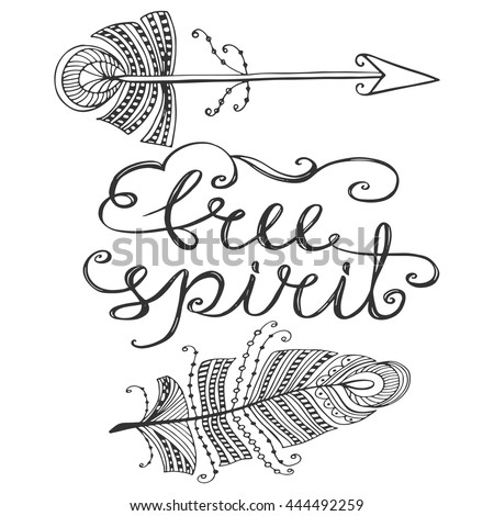 Free Spirit Phrase Inspirational Quote About Stock Vector Royalty