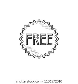 Free star sticker hand drawn outline doodle icon. Freebies tag, bargain, bonus, retail, trial, business concept. Vector sketch illustration for print, web, mobile and infographics on white background.