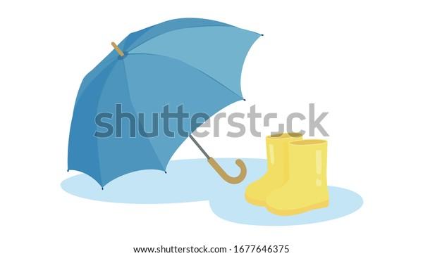 無料のストックイラスト|傘と雨のブーツ