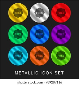 Free tag for commerce 9 color metallic chromium icon or logo set including gold and silver