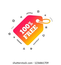 Free tag icon. Freebies banner symbol. Shopping special offer sign. Colorful geometric shapes. Gradient Free tag icon design.  Vector