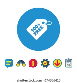 Free tag icon. Freebies banner symbol. Shopping special offer sign. Information, Report and Speech bubble signs. Binoculars, Service and Download icons. Vector