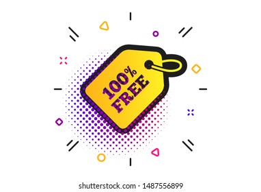 Free tag icon. Halftone dots pattern. Freebies banner symbol. Shopping special offer sign. Classic flat free tag icon. Vector