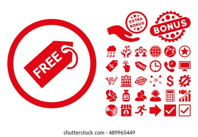 Free Tag pictograph with bonus design elements. Vector illustration style is flat iconic symbols, red color, white background.