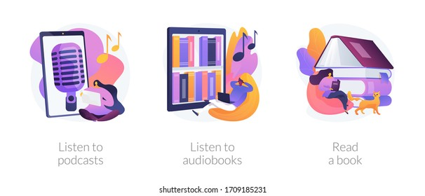 Free time while coronavirus quarantine ideas abstract concept vector illustration set. Listen to podcasts or audiobooks, read a book with children, audio programmes, home library abstract metaphor.