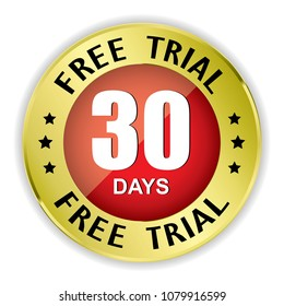 Free trial 30 days badge with gold border on white background.vector illustration